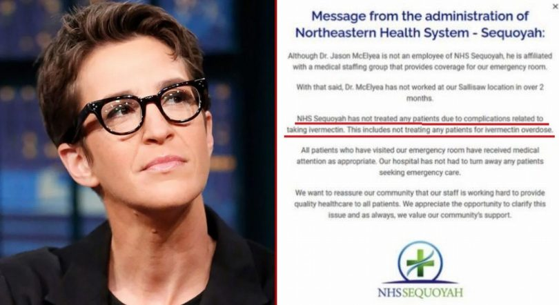 Hospital Statement Calls Out Ivermectin 'Fake News' That Was Spread by Rachel Maddow MADDOWNHS-810x442